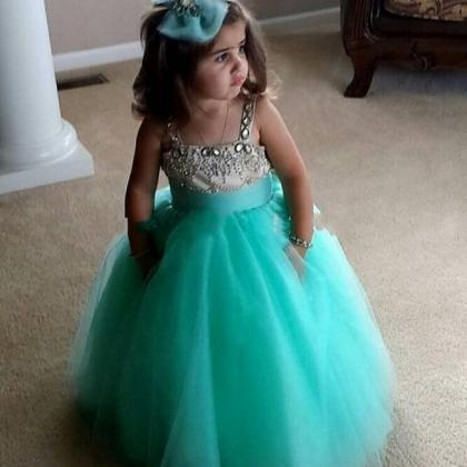 Cute Mint Green Girls Pageant Dress..