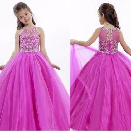 Cute Fuchsia Girls Party Dresses, J..