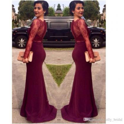 Long Sleeve Burgundy Lace Prom Part..