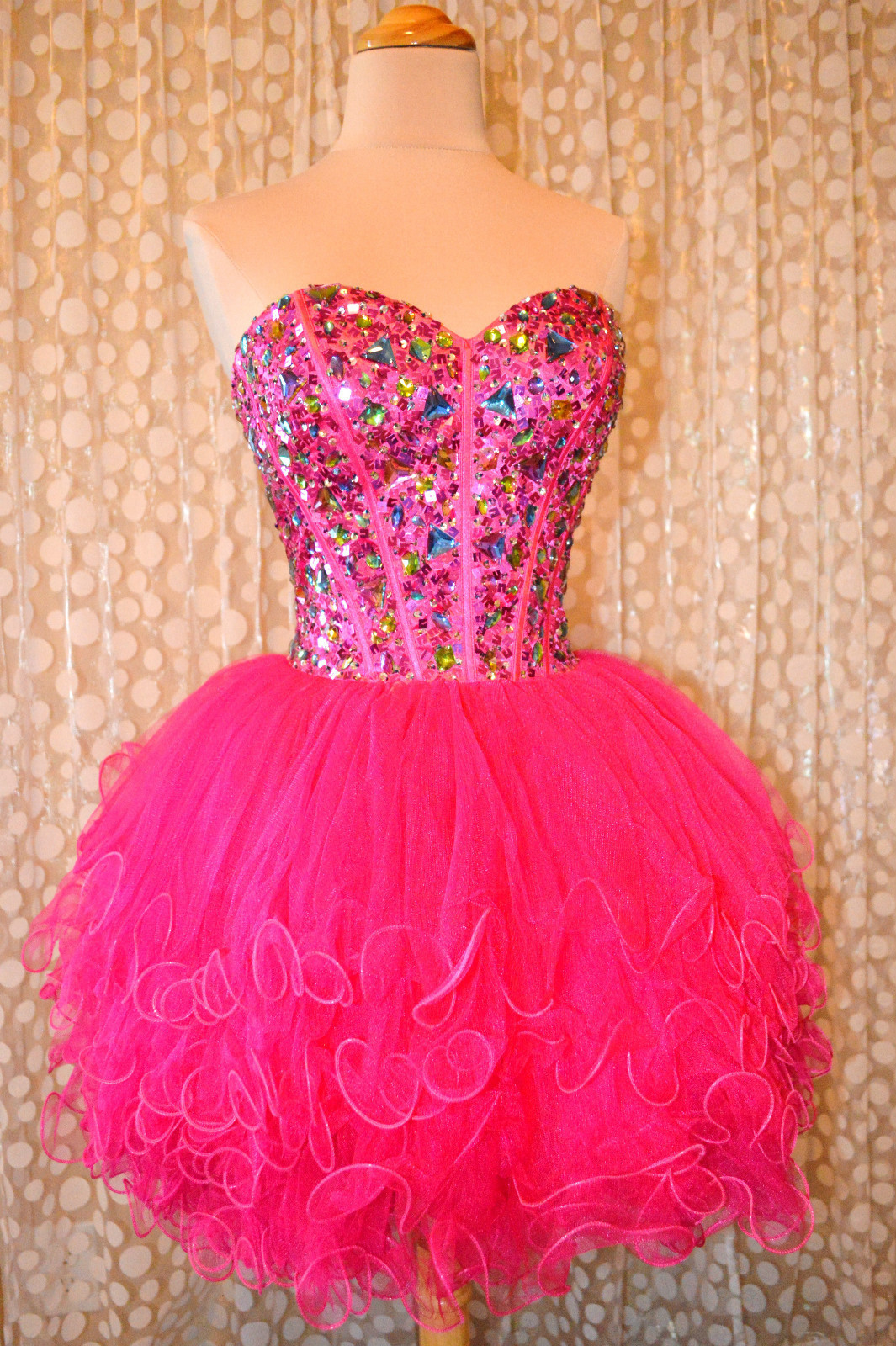 2016 Short Fuchsia Homecoming Dresses Luxury Crystal Top Party