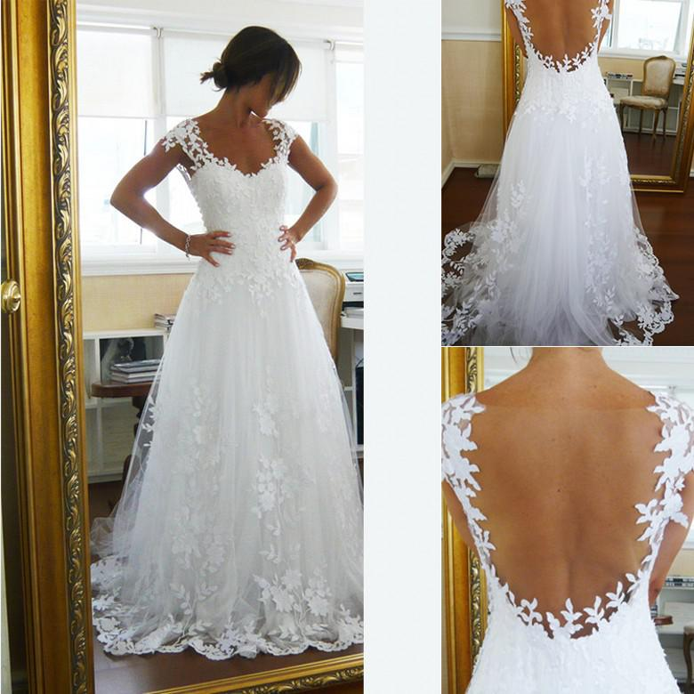 2017 Sheer A Line Wedding Dress, Lace Bridal Gowns, Vintage White ...