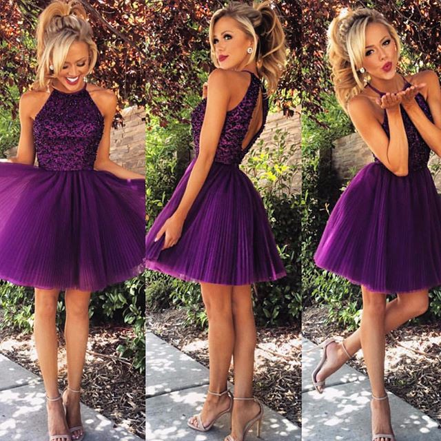21d165b3fa6e5 Purple Homecoming Dress