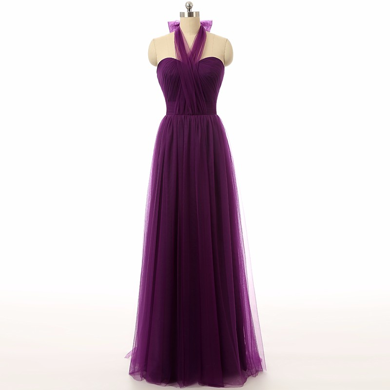 Elegant Purple Bridesmaid Dresses, Plus Size Long Bridesmaid Dresses, 2016 Cheap Purple Bridesmaid Dress Under 100, Floor Length Wedding Party Dresses, A Line Tulle Maid Of Honor Dresses, Customize Briesmaid Dress For Wedding Party, Halter Bridesmaid Dresses, Sexy Backless Bridesmaid Dresses,