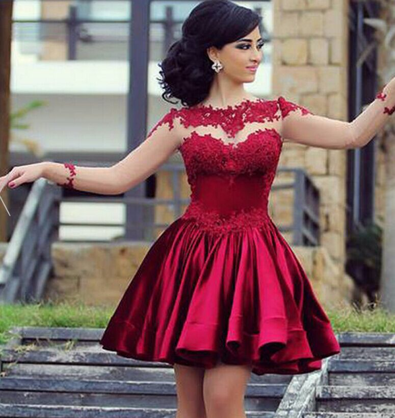Short Burgundy Homecoming Dress Burgundy Lace Prom Party Dress