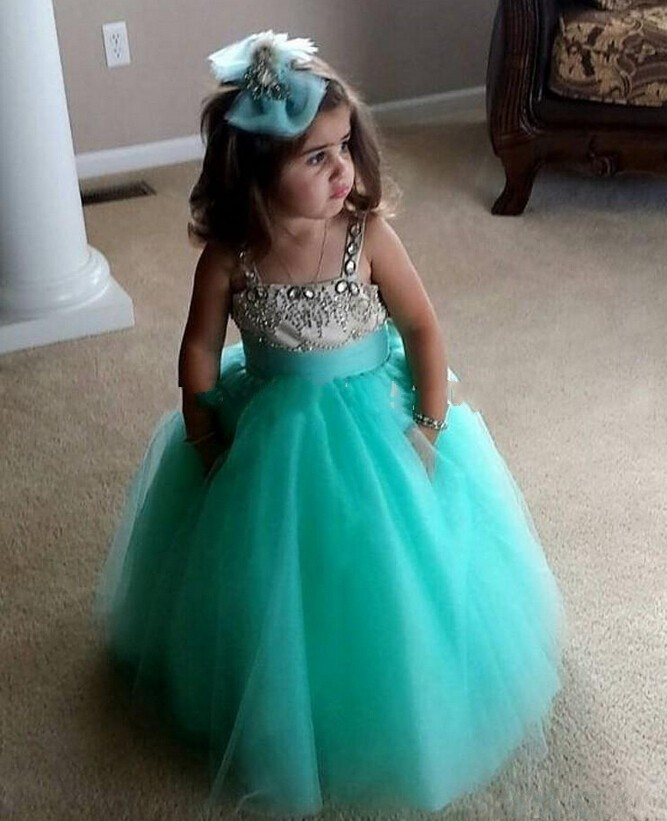 Cute Mint Green Girls Pageant Dresses, Long Cheap Girls Party Dresses, Luxury Beaded Flower Girls Dress, Spaghetti Strap Flower Girls Dresses, Formal Kids Wear For Event , First Communion Dresses For Girls