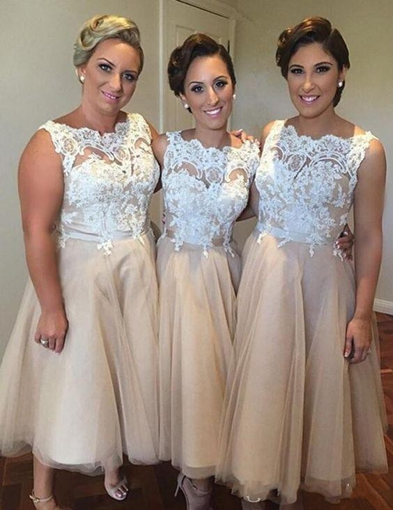 Elegant Champagne Tulle With Ivory Lace Tea Length Bridesmaid ...