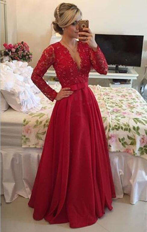 7852583a03 Deep V Neck Long Sleeve Red Lace Sexy Prom Party Dresses With Full Sleeve A Line  Chiffon Sexy See Through Back Chiffon Floor Length Formal Women Evening ...