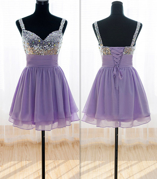 Cheap 2017 Short Lilac Chiffon Bridesmaid Dress For Wedding Party fa3bd0731e6a