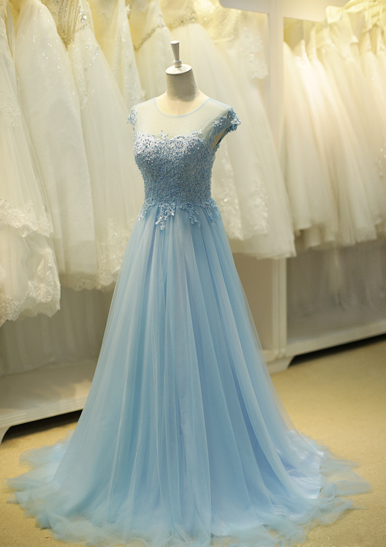Vintage Sky Blue Appliques Sheer Prom Dresses, Long Tulle Party ...