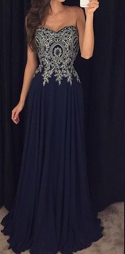 Long Navy Blue Prom Dresses With Appliques A Line Chiffon Floor ...