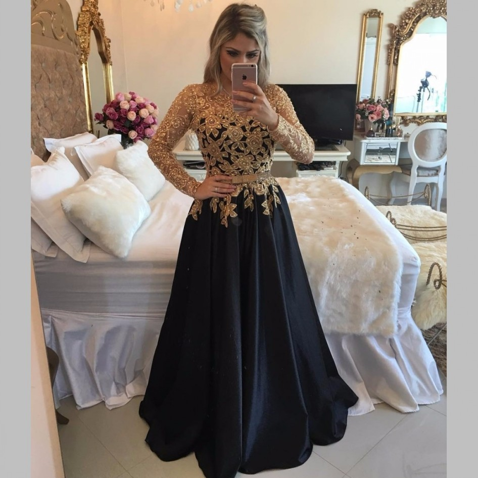 Long Sleeve Black Prom Dresses With Gold Sequins Top 2017 Sexy