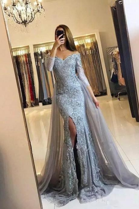 Sexy Off the Shoulder Three Quarter Sleeve Lace Mermaid Silver Prom Dresses With Split Detachable Tulle Train Long Evening Gown 2019