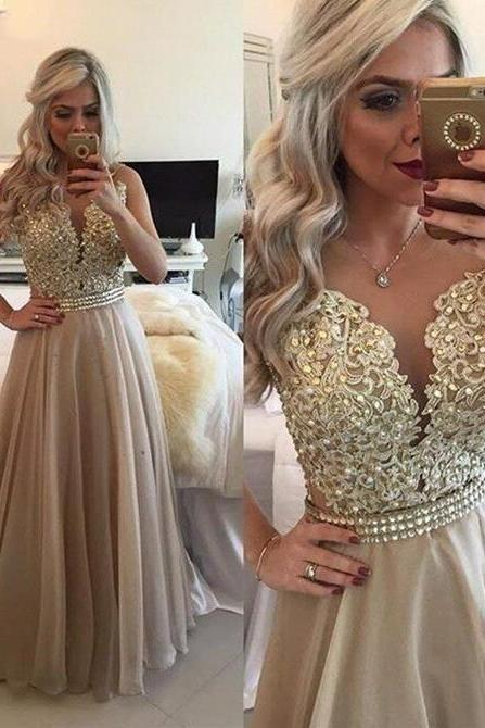 New Sexy Champagne Prom Dress Long Chiffon A Line Sheer Back illusion with Golden Sequins Bead Formal Evening Dresses