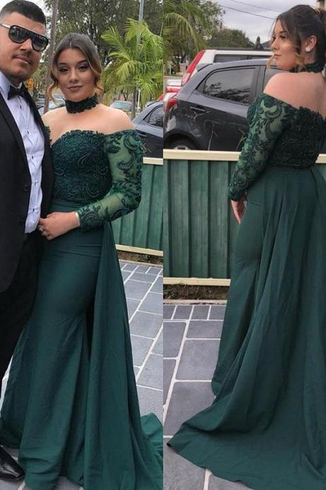 Elegant Dark Green Prom Dress Long Sleeve Sexy Sweetheart Lace Appliques Formal Party Dress With Train