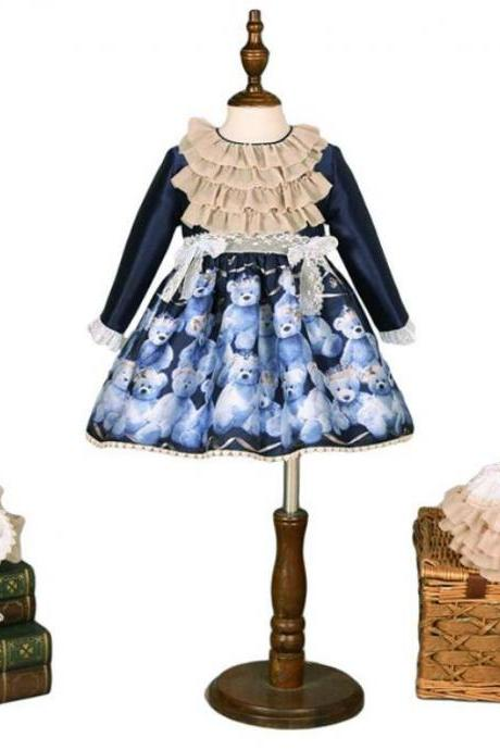 Free Shipping 3 pcs/Package Navy Blue Princess Girls Dresses Long Sleeve Court Style Cute Blue Children Birthday Costume Party Dress