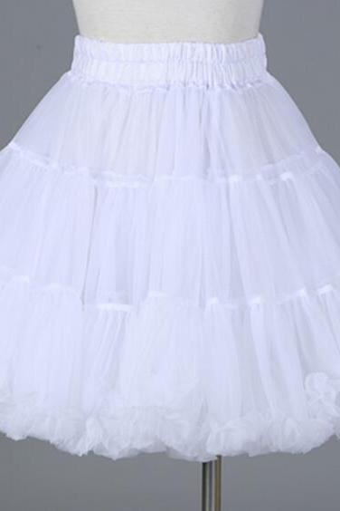 Free Shipping White/Pink Petticoat for Lolita Women Girl Dresses Puffy Under Skirt Ball Gown Puffy Elastic Waist Tutu Skirt