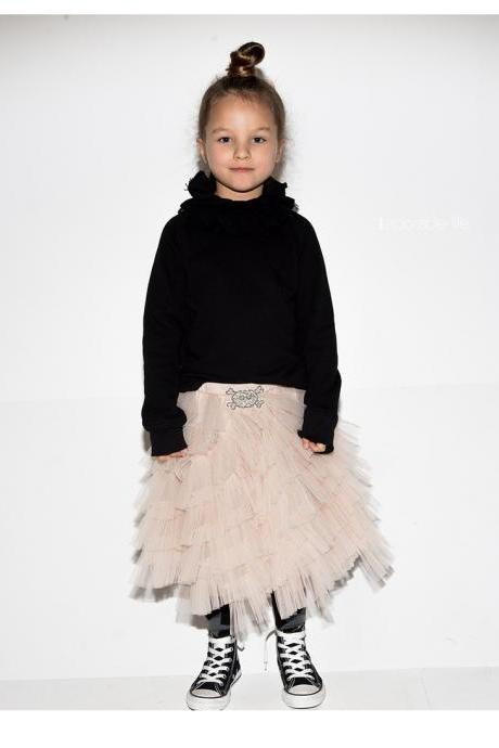 Free Shipping Champagne Black Tutu Skirt Dress For Little Girls A Line Tiered Ruffles Fashion Children Clothes