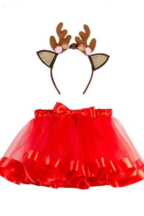 Free Shipping Red Christmas Tutu Skirts for Girls Children Costume Clothes Holiday Party with Hair Band