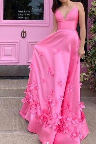 Long Pink Prom Dress Sexy V Neck Spaghetti Strap Appliques Formal Women Party Dress Backless Gowns Custom Size