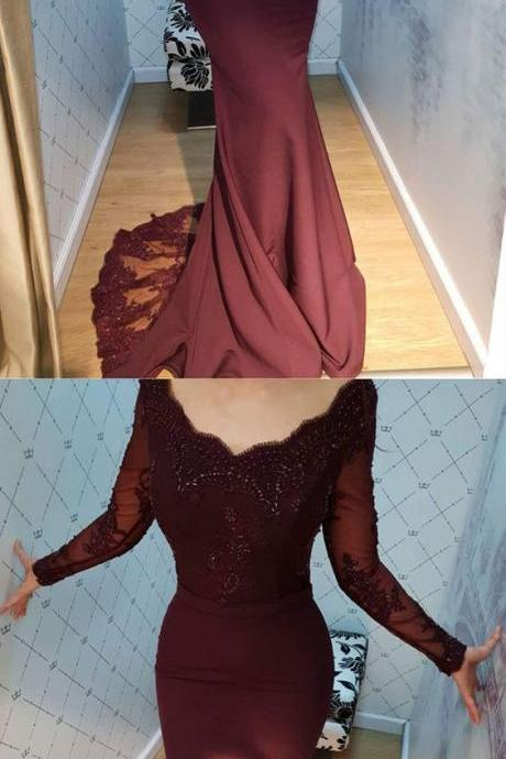 2020 Long Sexy Burgundy Lace Appliques Beaded Mermaid Party Dress Sexy Long Sleeve Boatneck Women Prom Dress Formal Sweep Train Women Evening Dresses Custom Size
