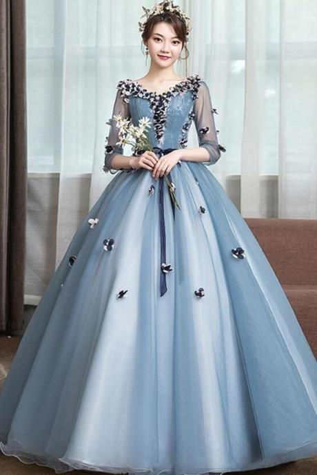 Quinceanera Dresses Half Sleeve V-neck Prom Party Dress Elegant Appliques Formal Prom Dress Quinceanera Dress Plus Size