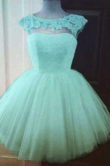 2016 Sweet Mint Green Homecoming Dress, Cheap Homecoming Dress With Cap Sleeve ,Mint Green Lace Short Prom Dress, Sexy Illusion Homecoming Dress, Junior High School Club Dress, 2016 Short Prom Dress, Vintage Tulle Party Gowns, 8th Grade Graduation Dress 2016, Plus Size Short Prom Party Dress 2016