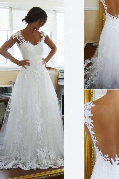2017 Sheer A Line Wedding Dress, Lace Bridal Gowns, Vintage White Lace Wedding Dress, Sexy Illusion Back Wedding Dress, Plus Size Lace Wedding Dress, Cheap Wedding Dress 2016, Beach Lace Wedding Dress, Floor Length Wedding Dress With Cap Sleeve,