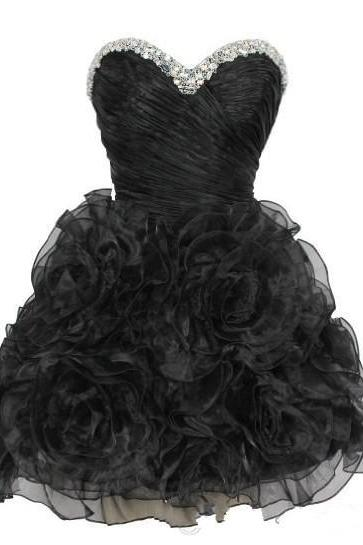Little Black Homecoming Dresses 2016, Ball Gown Organza Homecoming Dresses, Sexy Sweetheart Prom Dress, Lace Up Back Junior Party Dresses 2016, Short Junior Party Dress With Flower Bottom,Cheap Short Bridesmaid Dress For Junior Party, 2016 Crystal Homecoming Gowns