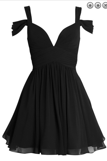 Black Cold V-neck Chiffon Dress