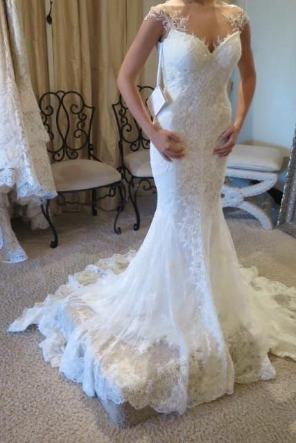 Vintage Mermaid Wedding Dresses 2016, Sexy Sheer Long Ivory Wedding Gowns, Romantic Lace Bridal Dresses, O Neckline Wedding Gowns, Sexy illusion Back Wedding Dresses, Cheap Wedding Dress With Short Cap Sleeve,Court Train Wedding Dresses 2016, Cheap Bridal Gowns 2016