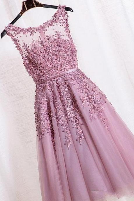 Beaded Knee-length Dress with Illusion Neckline