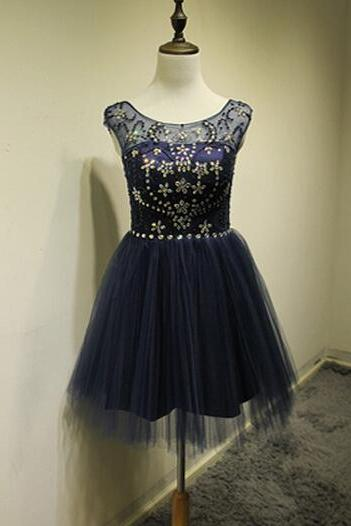 2016 Navy Blue Homecoming Dresses, Cheap Graduatiion Gowns For High School, A Line Short Party Dresses, Pleats Skirt Crystal Prom Dresses, Vintage Navy Blue Tulle Cocktail Dresses, Open Back Short Prom Dresses, Short Sleeve Homecoming Dresses, Plus Size Short Prom Dresses 2016, Semi-Formal Junior Party Dress For Homecoming Gowns