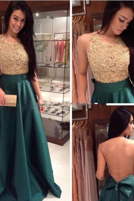 Elegant Dark Green Prom Dress Long Satin A Line Floor Length Illusion Back See Through Formal Evening Dress With Bow Knot