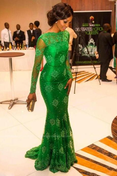 Hot sale See Through New 2017 High Neck Mermaid Green Appliques Celebrity / Evening Dresses Lace Sheer Prom Gown Open Back Long Sleeve Cap Sleeve