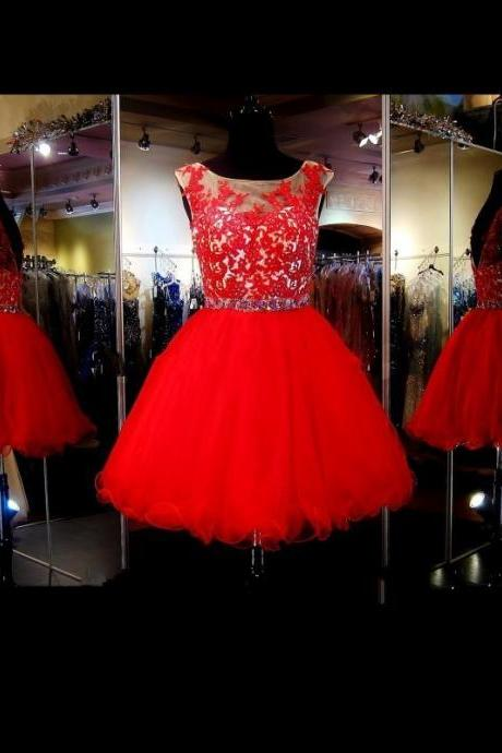 Red Lace Homecoming Dress Short Sexy Open Back Short Prom Party Dresses, Vintage Tulle Cheap Homecoming Dresses , Sexy Sheer Cocktail Dresses,