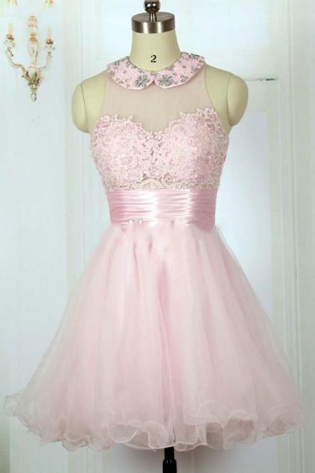 High Neck Pink Homecoming Dress, Cute 8th Grade Graduation Dresses, Sexy Illusion Party Dresses, Sexy Sheer Prom Party Dresses,2016 Pink Lace Club Dresses, Cheap Beaded Homecoming Dress, Sexy Open Back Junior Party Dresses 2016, Sweet 15 Year Party Dresses,