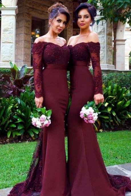 Off The Shoulder Bridesmaid Dress, Long Sleeve Lace Wedding Party Dress, Garden Style Long Mermaid Bridesmaid Dress, Sexy Off The Shoulder Prom Party Dress, Empire Appliques Cheap Celebrity Dresses,Vintage Lace Appliques Formal Evening Dress,
