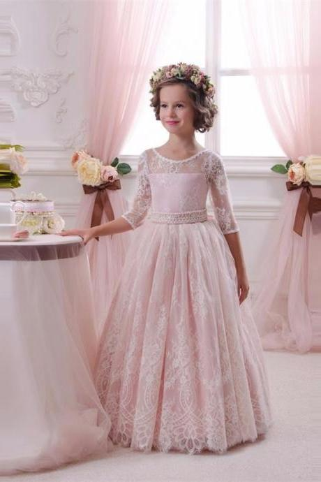 Sweet Pink Lace 3/4 Sleeve Flower Girls Dresses For Weddings ,2017 A Line Cheap Holy Romantic Charming First Communion Dress, Lovley Pink Lace Girls Birthday Party Dress, Princess Lace Girls Pageant Dresses With Sleeve 2017
