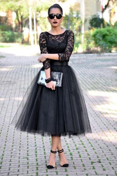 Cheap 2017 Tea Length Prom Dresses 3/4 Long Sleeves Jewel A Line Black Lace Evening Gowns Lace Long Party Dresses Tulle Gala Prom Dress