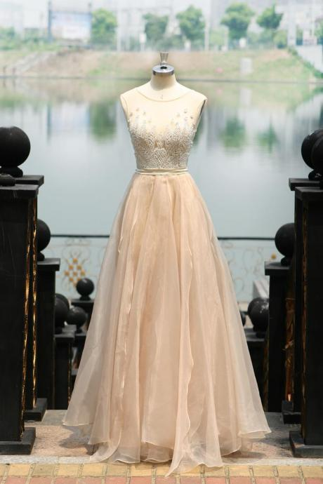 Elegant Light Champagne Color Long Sheer Prom Evening Dresses With Appliques A Line Organza Sexy Open Back Jewel Neckline Straps Floor Length Formal Party Dress Gowns