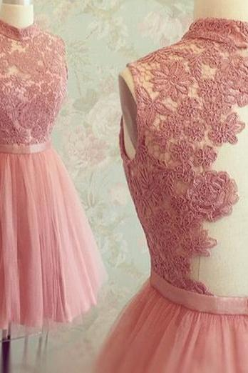 Custom Made High Neck Open Back Short Lace and Tulle Short Home Cocktail Dress, Homecoming Dresses - Pink