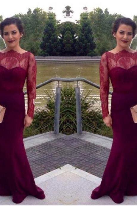 Long Sleeve Burgundy Lace Prom Party Dresses Cheap 2017 High Neck Sexy Mermaid Satin Formal Evening Dresses Floor Length See Through Pageant Gowns