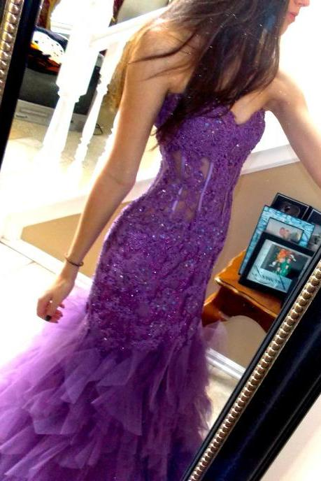 Vintage Lilac Appliques Prom Party Dresses, Sexy Backless Mermaid Formal Long Evening Dresses, Sweetheart Tulle Pageant Dresses 2017, See Through Cheap Women Red Carpet Party Dresses