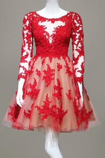 Short Red Lace Sheer Homecoming Dresses With Long Sleeve Short Sheer Prom Gowns