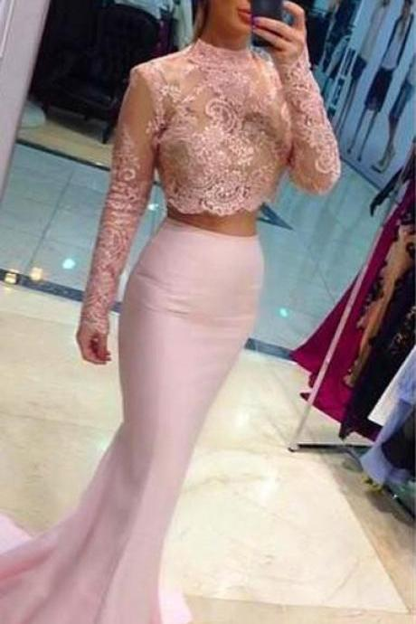 High Neck Two Pieces Long Mermaid Pink Lace Prom Dresses With Long Sleeve, Sexy Mermaid Formal Pink Evening Dresses 2017, Sheer Prom Dresses Long Cheap 2017,