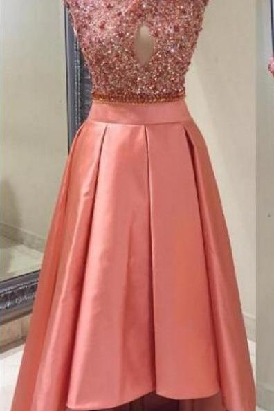 High Neck Shiny Sequins Dubai Style Prom Dresses, High Low Satin Party Dresses,Luxury Crsytal Sequins Cocktail Dresses 2017, Sexy Hollow Front Customize Party Dresses, Short Cap Sleeve Sequins Pink Cocktail Dresses 2017