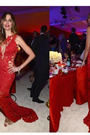 See Through Red Lace Long Prom Dresses, Sexy Backless Prom Dresses, Split Front Red Lace Party Dresses, Jewel Neckline Party Dresses, Vintage Red Lace Party Dresses, Long Mermaid Sexy Prom Dresses, Sweep Train Party Dresses 2017