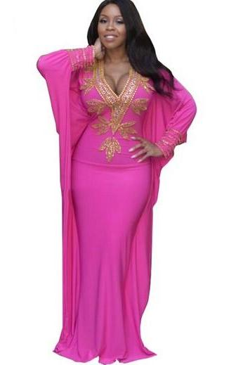 Dubai Style Fuchsia Prom Dresses, Gold Beaded Party Dresses, Sexy V Neck Mermaid Prom Dresses, Pageant Prom Party Dresses, Long Fuchsia Pageant Dresses, Vintage Fuchsia Prom Gala Dresses 2017