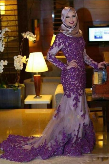 Dubai Style Purple Lace Long Prom Dresses, Purple Prom Dresses, Sexy Mermaid Pageant Party Dresses, Kaftan Designer Evening Dresses With Long Sleeve, Jewel Neckline Prom Dresses, Vintage Purple Prom Dresses 2017