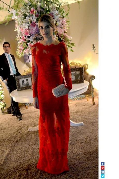 Vintage Red Formal Evening Dresses, Sexy Sheer Lace Prom Dresses, 2017 Long Prom Dresses, Illusion Neck Party Dresses, Long Sleeve Prom Dresses, Cheap Red Lace Prom Dresses, Sheath 2017 Prom Party Dresses